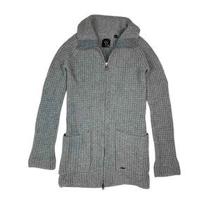 TNA Lambswool Zip Up Knit Sweater